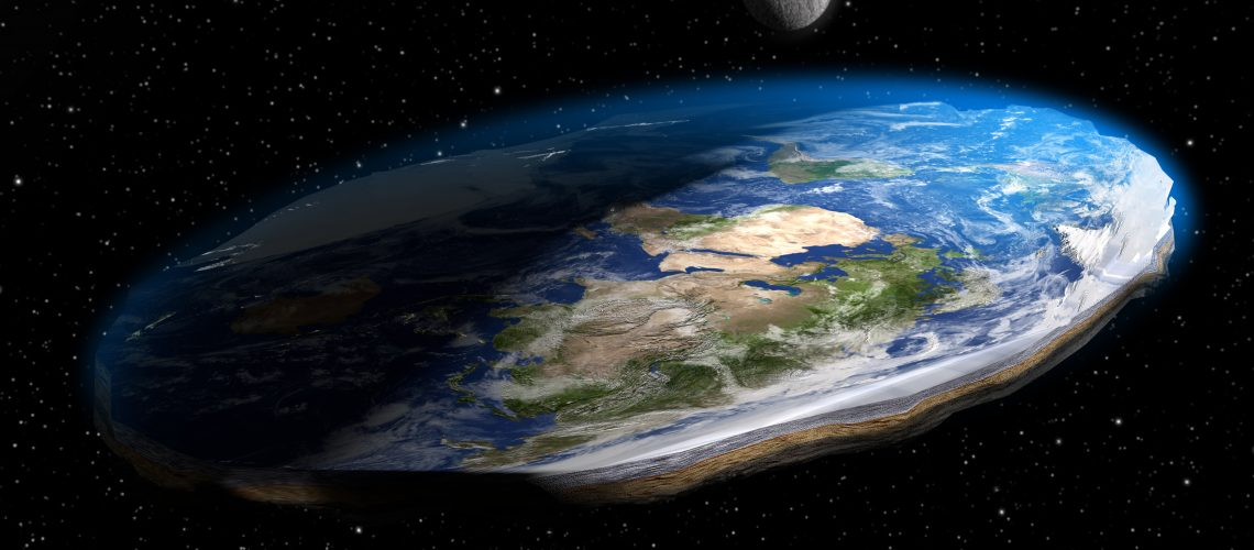 A 3D illustration of the now debunked competing conspiracy theory that the Earth is flat, as it appears from land, rather than spherical. Earth texture maps courtesy of NASA.gov